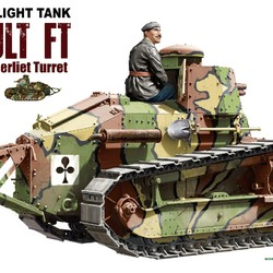 Французкий легкий танк Renault FT char canon/Berliet turret and resin figure