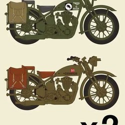 Мотоцикл Триумф 3HW Triumph motorcycle 3HW (2 pieces) (w/ British Army Figure 3 pieces)